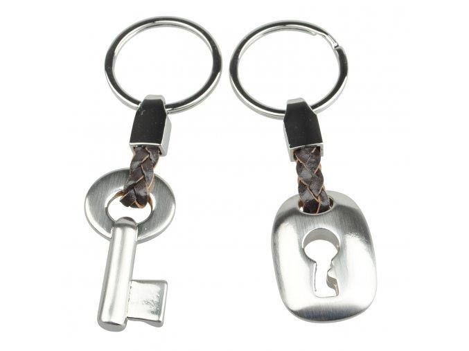 Kľúčenky pre dvoch, kľúč a kladka, strieborná farba, koža (1)