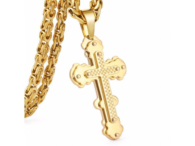 Pánska retiazka s krížom, kráľovský vzor, zlatá farba, chirurgická oceľ (1)