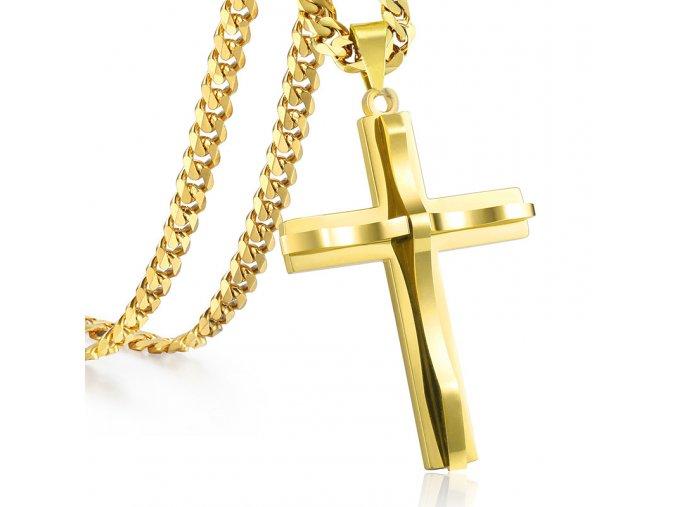 Pánska retiazka s krížom, zlatá farba, chirurgická oceľ, vlnka
