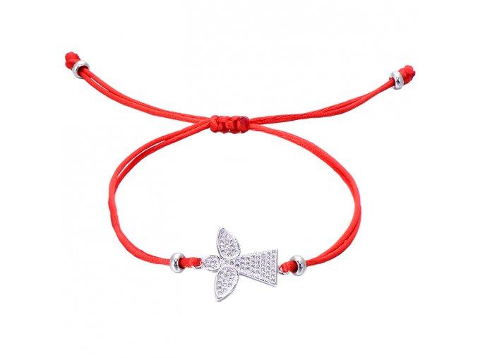 Červený náramok, anjel striebornej farby so zirkónmi bižutéria (1)