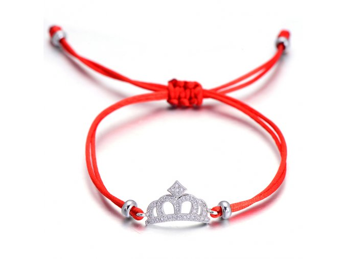 Červený náramok, korunka striebornej farby so zirkónmi bižutéria (1)