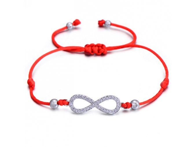 Červený náramok, symbol nekonečna so zirkónmi bižutéria (1)