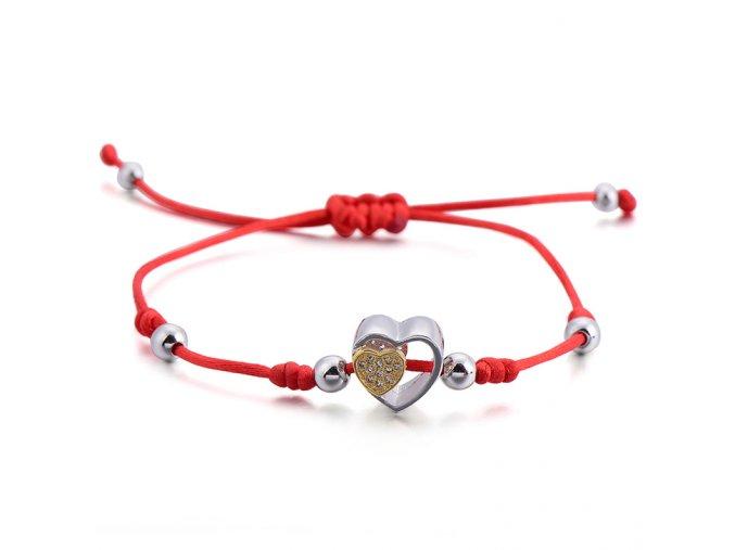 Červený náramok, srdce so zirkónmi, dve farby bižutéria