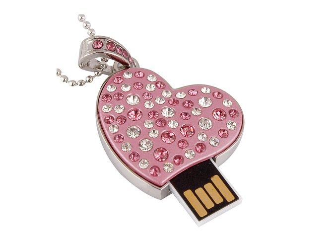 USB náhrdelník pre ženu, farebné zirkóny, ružová farba - 8GB