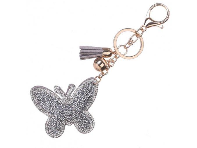 Prívesok na kľúče, motýľ so striebornými kamienkami, strapec a gulička (1)