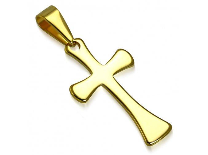 Prívesok latinský kríž zlatej farby, lesklá chirurgická oceľ (1)