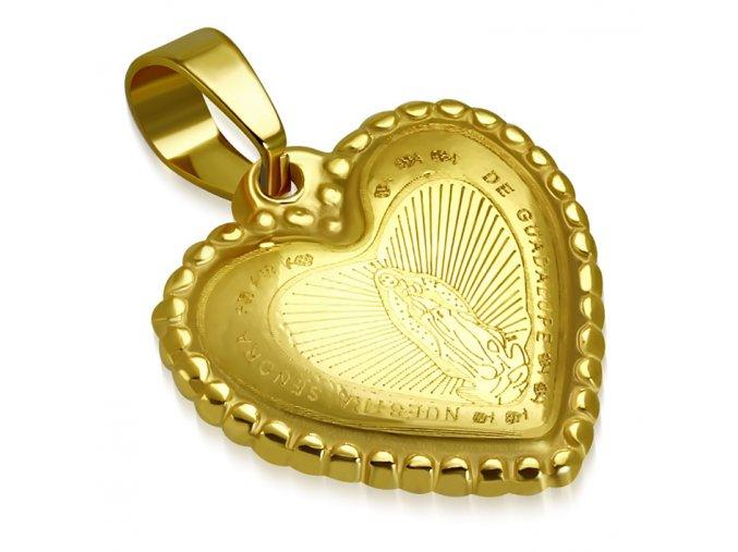 Prívesok na retiazku z ocele, 3D srdce Pannou Máriou, zlatá farba (1)