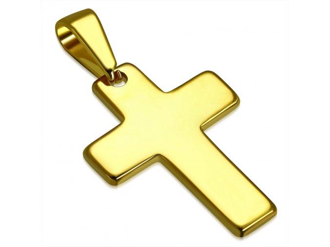 Prívesok lesklý kríž zlatej farby, hladká chirurgická oceľ