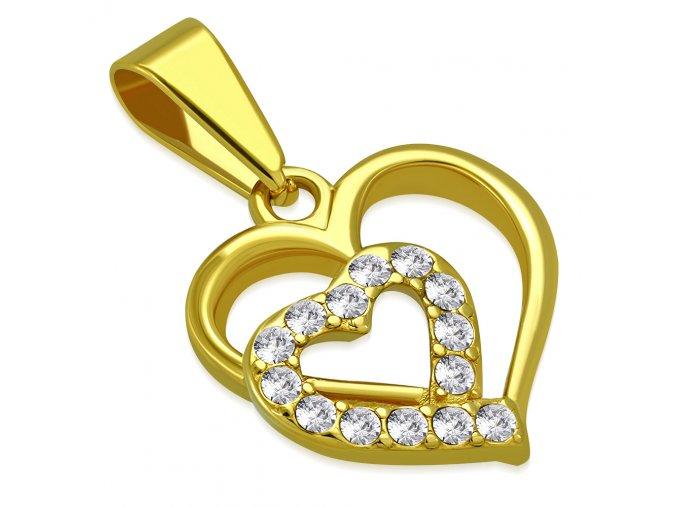 Prívesok srdce z ocele zlatej farby, číre zirkóny a kontúra