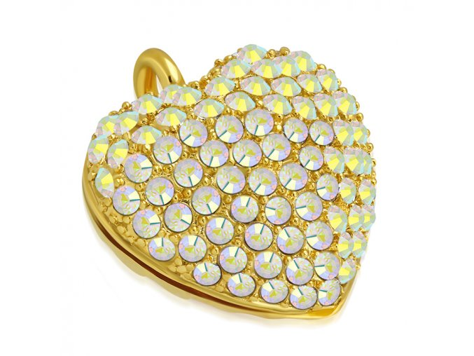 Prívesok 3D srdce so zirkónmi, chirurgická oceľ zlatej farby (1)