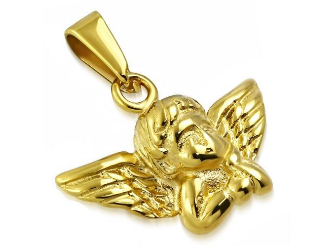 Prívesok anjelik s podopretou hlavou, chirurgická oceľ zlatej farby (1)