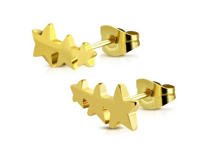 Puzetové náušnice pre ženu, 3 hviezdy zlatej farby, chirurgická oceľ