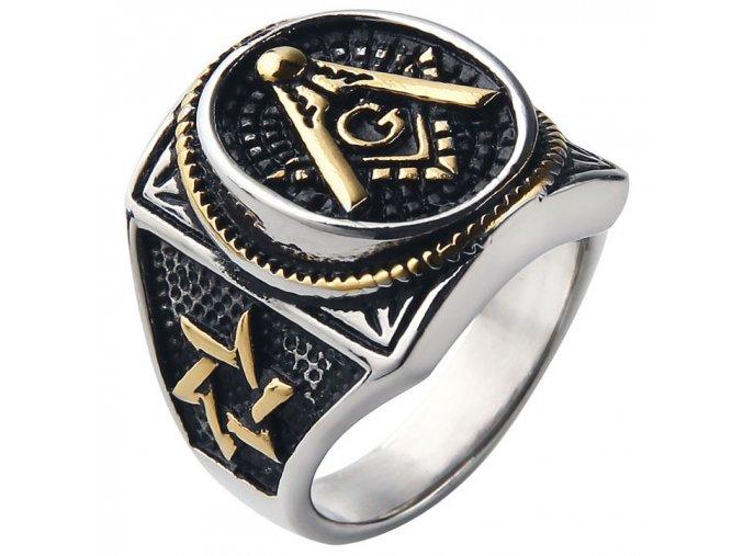 Pečatný prsteň pre muža z ocele, symbol slobodomurárov, patinovanie (1)