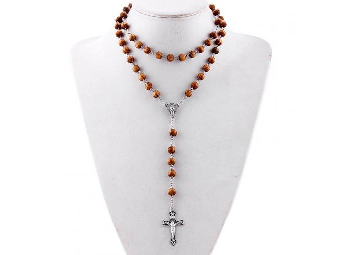 Ruženec na krk s krížom, Ježíš Kristus drevené korálky (1)