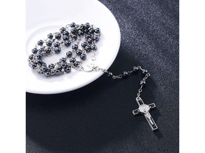 Ruženec na krk s krížom, Ježíš Kristus lesklé kovové korálky (1)