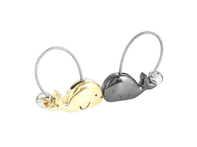 Kľúčenky pre dvoch, veľryby a lanko, zlatá a čierna farba