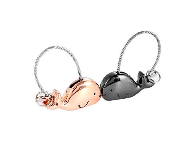 Kľúčenky pre dvoch, veľryby a lanko, ružovo zlatá a čierna farba