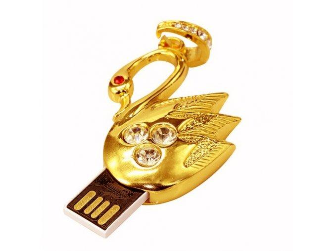 USB náhrdelník pre ženu, labuť zlatej farby so zirkónmi 8 GB (1)
