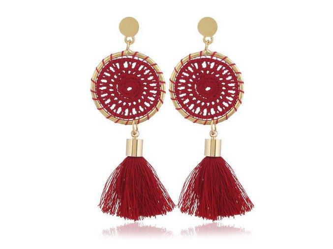 Náušnice pre ženu so strapcom, lapač snov červenej farby bižutéria