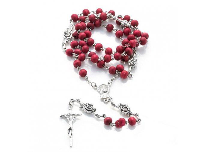 Voňavý ruženec na krk s krížom, Ježíš Kristus drevené korálky (1)