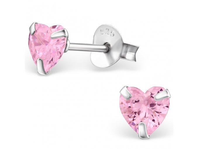 Dámske strieborné náušnice 925, ružové zirkónové srdcia 5 mm