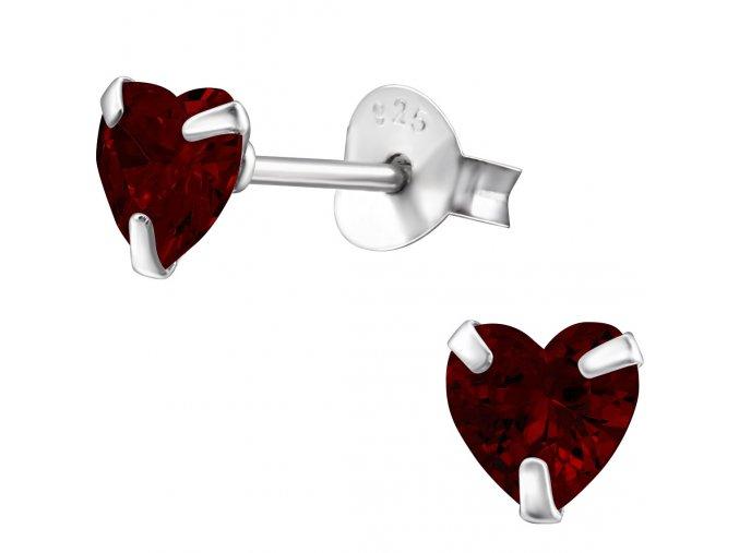 Dámske strieborné náušnice 925, červené zirkónové srdcia 5 mm