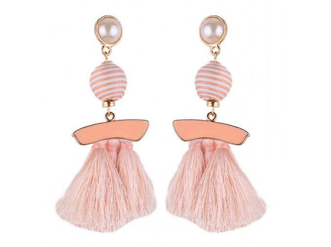 Dámske náušnice so strapcami, ružová glazúra, béžová farba bižutéria
