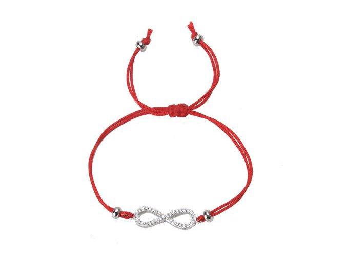 Červený náramok proti urieknutiu, symbol nekonečna so zirkónmi bižutéria