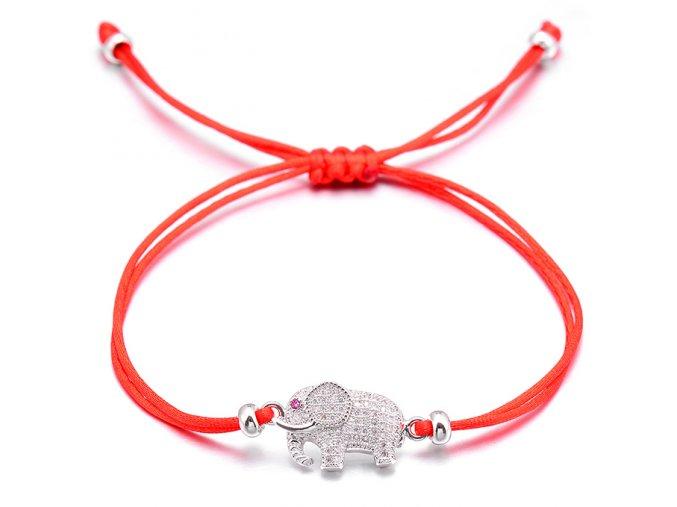 Červený náramok, slon striebornej farby so zirkónmi bižutéria (1)