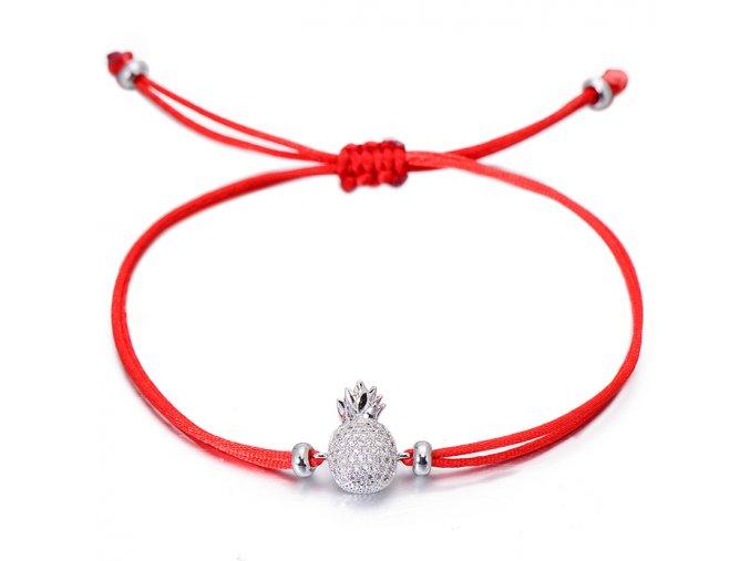 Červený náramok, ananás striebornej farby so zirkónmi bižutéria (1)