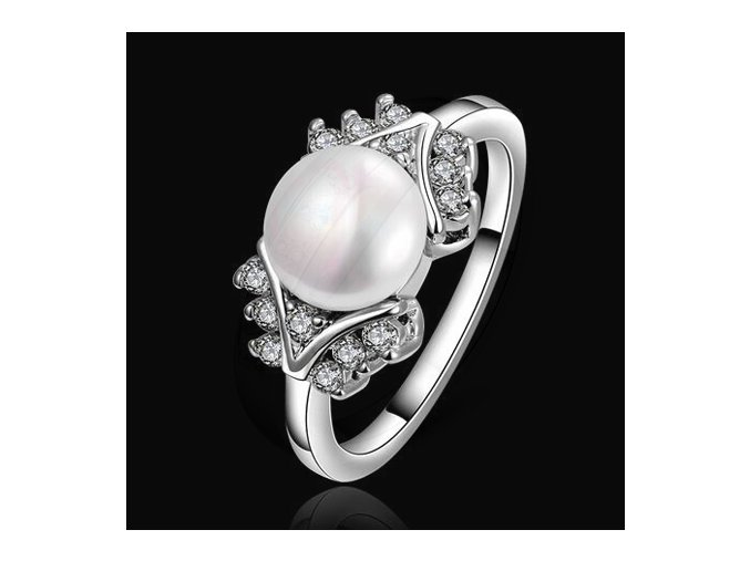 Prsteň s perlou pre ženu, strieborná farba, zirkóny, bižutéria