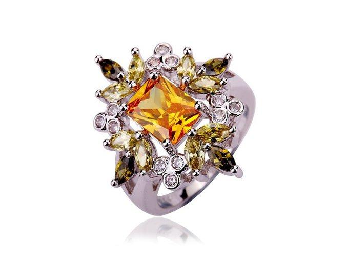Zásnubný prsteň z chirurgickej ocele, farebné polodrahokamy
