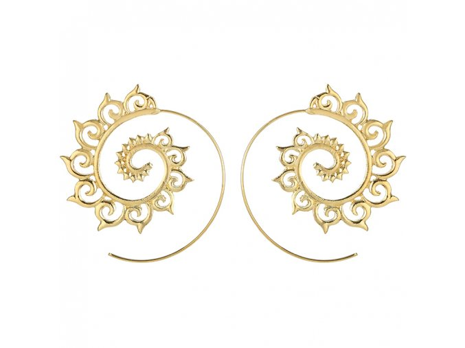 Náušnice pre ženu, Boho špirála zlatej farby, ornamentový vzor bižutéria