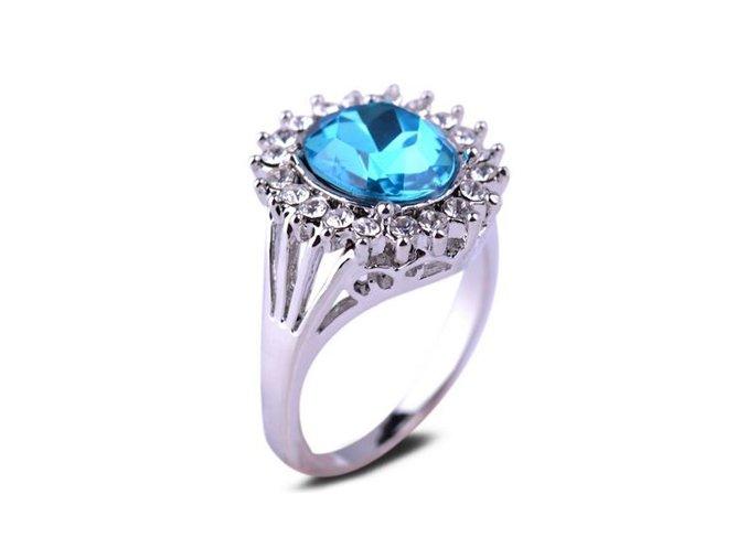 Dámsky prsteň z chirurgickej ocele, modrý kamienok