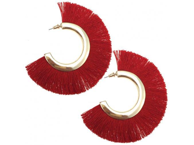 Dámske strapcové náušnice, červená a zlatá farba, kruhy bižutéria (1)