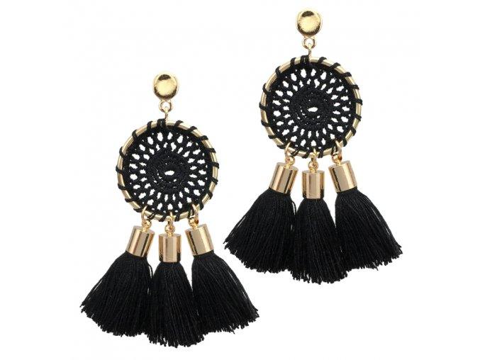 Náušnice pre ženu so strapcami, lapač snov čiernej farby bižutéria (1)