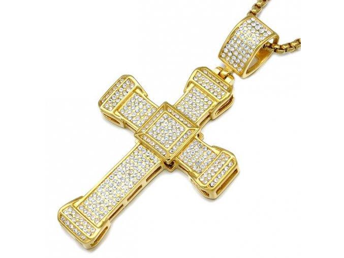 Pánska retiazka so zirkónovým krížom, chirurgická oceľ zlatej farby (1)