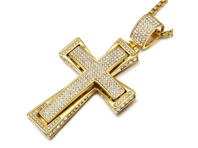 Pánska retiazka so zirkónovým dvojitým krížom, chirurgická oceľ zlatej farby (1)