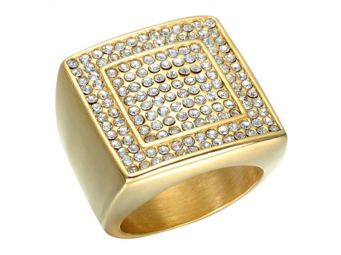 Pánsky masívny prsteň z ocele s čírymi zirkónmi, lesklá zlatá farba (1)