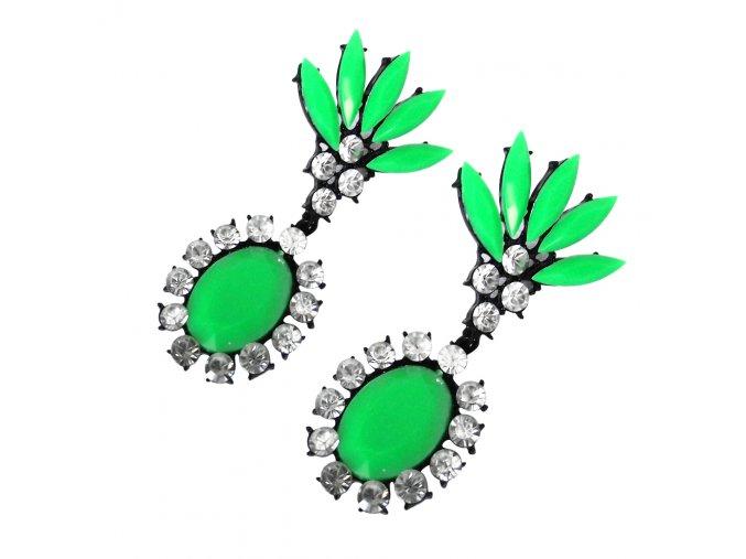 Visiace náušnice, akrylové zelené kamienky, bižutéria