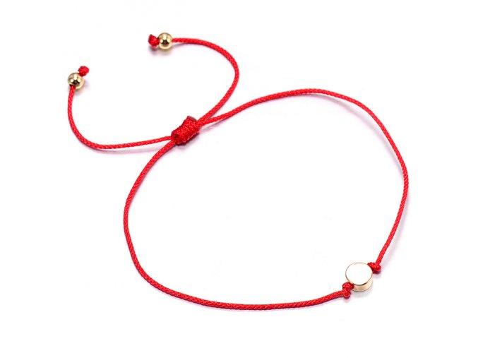Červený náramok, malý hladký kruh zlatej farby bižutéria