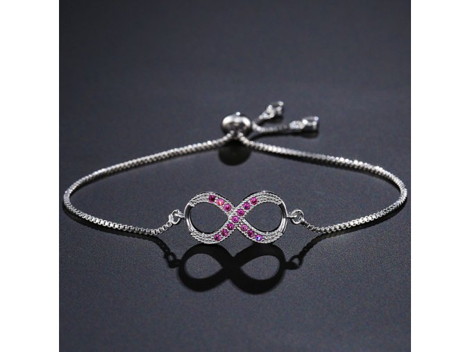 Dámsky náramok s ružovými zirkónmi, symbol nekonečna, strieborná farba bižutéria