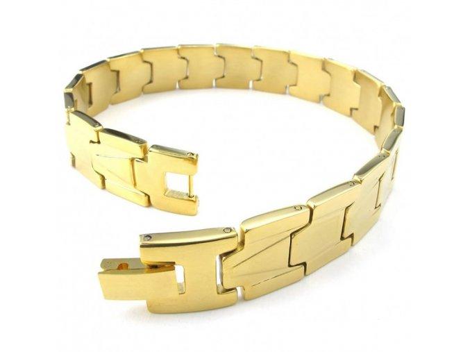 Pánsky náramok na ruku z ocele, zlatá farba, vzor (1)