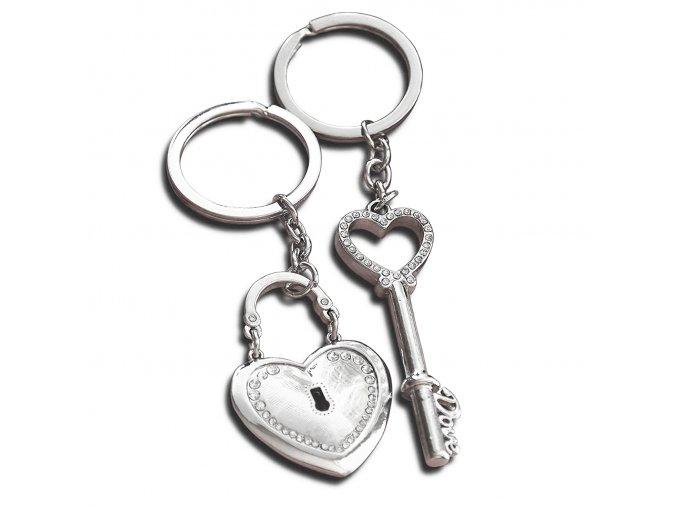 Kľúčenky pre dvoch, srdce a kľuč, kladka s čírymi zirkónmi (4)