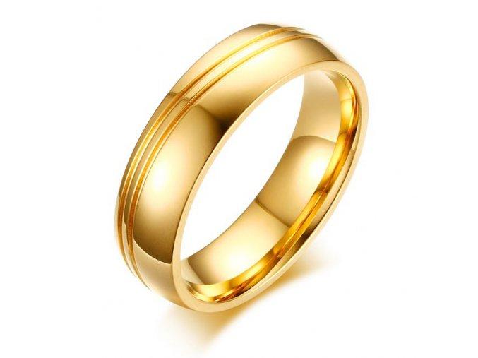 Svadobná obrúčka pre muža, oceľ zlatej farby, dve vlny (1)