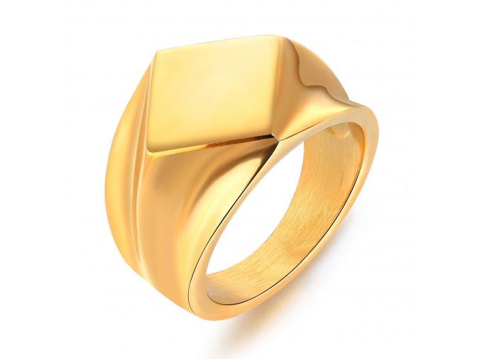 Pánsky pečatný prsteň z ocele, lesklá zlatá farba, štvorec