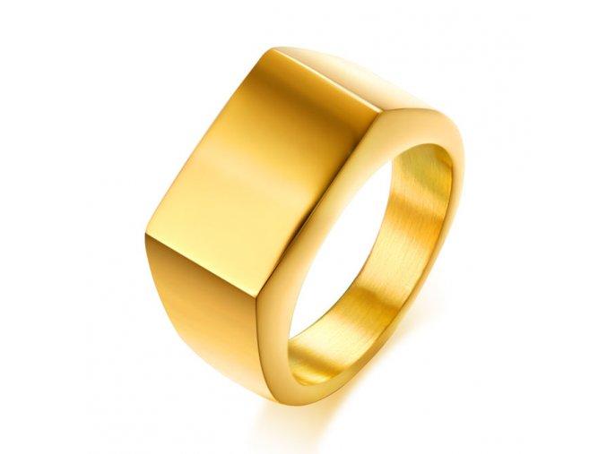 Pečatný prsteň pre muža, chirurgická oceľ zlatej farby, lesklý povrch (1)