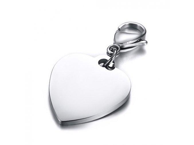 Prívesok srdce z chirurgickej ocele, karabínka, známka 25x21 mm (1)