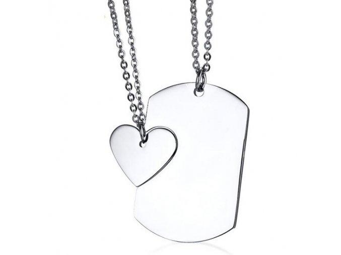 Prívesok pre dvoch, srdce a známka z chirurgickej ocele, strieborná farba (1)