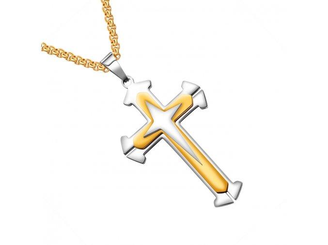 Retiazka na krk s krížom, chirurgická oceľ, zlatá a strieborná farba (1)